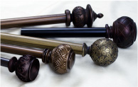 decorative drapery hardware pole sets with urn, knob, and ball finials