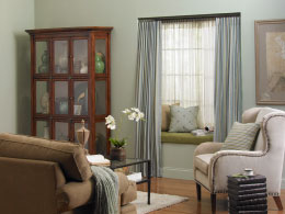 Decorative drapery hardware room scene double inside mount