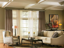 Decorative drapery hardware room scene free traversing double rod