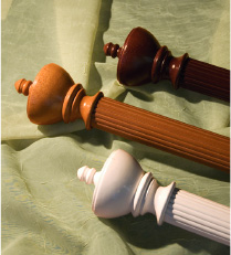 Decorative drapery hardware - wood poles with assorted knobs and urns