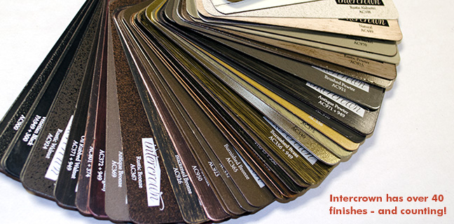 Picture of Intercrown's finish deck. Intercrown has over forty finishes - and counting!